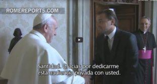 """Leonardo DiCaprio se reúne con el Papa: """"Gracias por esta audiencia privada"""""""